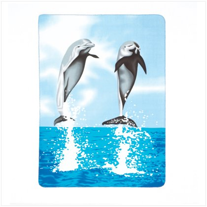 Dolphin Print Fleece Blanket Turquoise Blue Sofa Throw - 1