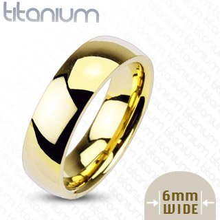 6mm Gold IP Titanium Plain Mirror Glassy Comfort Fit Wedding Band Ring; Comes With Free Gift Box (11)