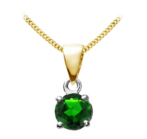 Stunning 9 ct Gold Ladies Solitaire Pendant + Chain with Chrome Diopside 0.60 Carat - 9mm*5mm