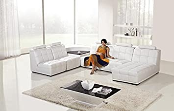 5pc Modern Contemporary Sectional Leather Sofa Set - AM-L632-W