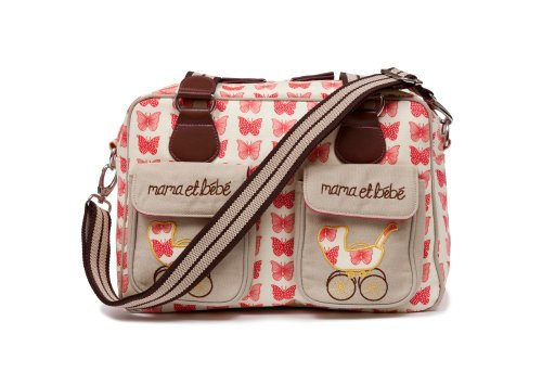 Pink Lining Red Butterflies Mama et Bebe Changing Bag