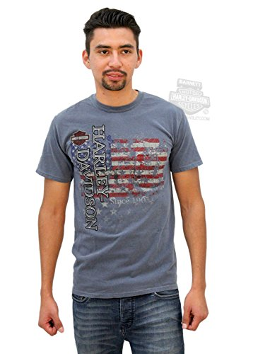 Harley-Davidson Mens Rolling Excellence US Flag Pocket Blue Short Sleeve T-Shirt - LG