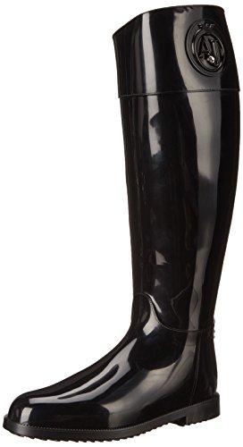 Armani-Jeans-Shoes-Bags-DE-B55K151-Damen-Langschaft-Gummistiefel-Schwarz-NERO-BLACK-40-EU
