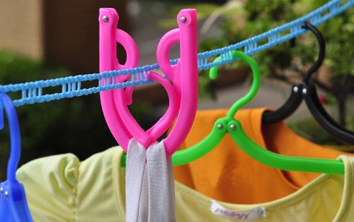 Set of 5 Colorful Foldable Clothing Hangers, Travel Folding Clothes Hanger , The Portable Clothes Racks (Travelling Clothes Rack compare prices)