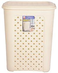 CELLO Eliza Polypropylene Laundry Basket (54 cm x 43 cm x 33 cm, Ivory)