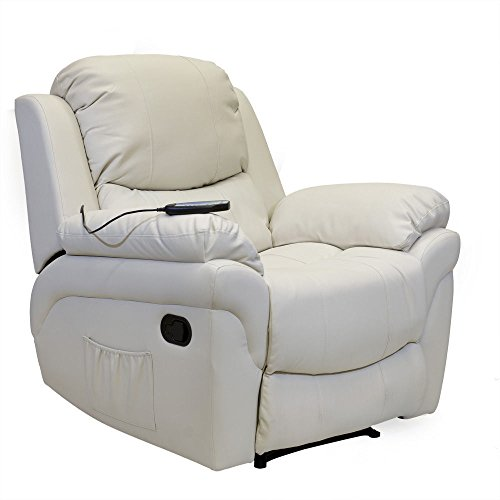 MALAGA [CREAM] MASSAGE HEAT LUXURY CINEMA GAMING LOUNGE REAL BONDED LEATHER RECLINER CHAIR