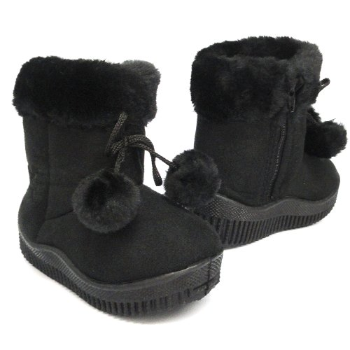 Baby Toddler Faux Shearling Pom Poms Winter Boots Black , 8