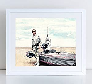 Luke Skywalker Tatooine Star Wars Giclee Print of Watercolor Painting 8 x 10, 11 x 14 inches Fine Art Poster Movie A New Hope George Lucas The Force Awakens Jedi