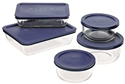 Pyrex Storage 10-piece Set Clear With Blue Lids from Pyrex