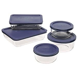 Pyrex 6021224 Storage 10件套蓝色透明餐盒组合
