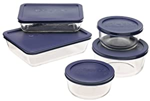 Pyrex Storage 10-Piece Set, Clear with Blue Lids