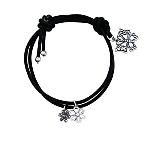 Sterling Silver Diamond Accent Butterfly with Flower Black Cord Bracelet, 7.25""