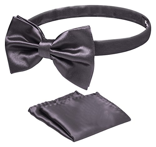 Azzurro Tuxedo Solid Color Bow Tie And Matching Handkerchief