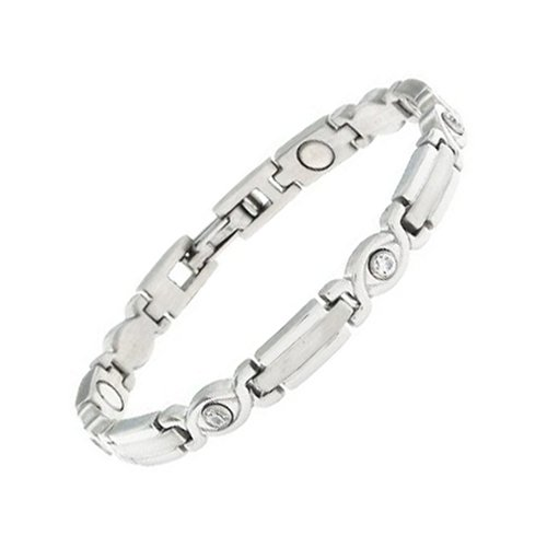 Women's Sabona Lady Executive Silver Gem Magnetic Bracelet,Small