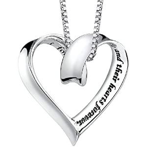 "Sterling Silver ""A Mother Holds Her Childs Hand For A Short While And Their Hearts Forever"" Heart Pendant, 18"""