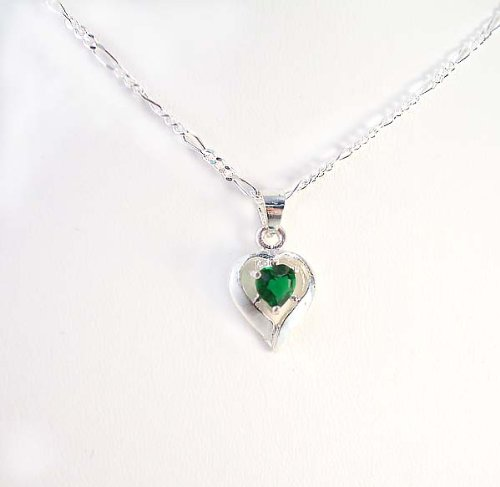 Birthstone May Emerald Heart Crystal Sterling Silver Necklace, 20
