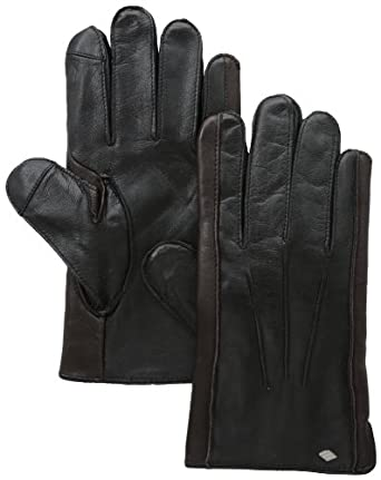 Joseph Abboud Men's Baby Cable Cashmere Lined Wool and Sheepskin Glove with Touch, Black/Brown, X-Large