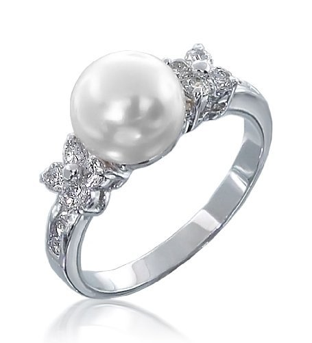 Diamond And Pearl Engagement Rings: PEARL DIAMOND ENGAGEMENT RING