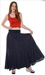 SNS Pure Cotton Long Maxi Skirt Dark Blue