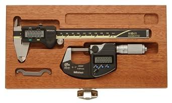 """Mitutoyo 64PKA077 Digimatic Tool Kit, 0-1""""/0-25mm Range Digimatic Micrometer, 0-6""""/0-150mm Range Digimatic Caliper"""
