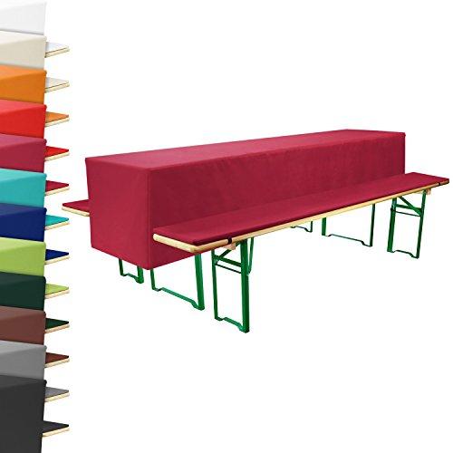 Gepolsterte-Bierbank-Auflage-Tisch-Husse-70cm-breit-dunkelrot-rot-Bierzeltgarnitur-Festzeltgarnitur