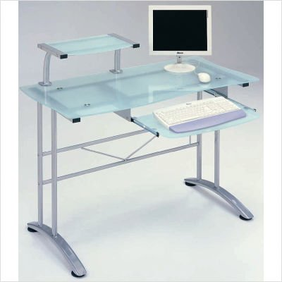 Buy Low Price Comfortable The Prota-8 Computer Glass Table (Frosted / Silver) (37.80″H x 23.62″W x 46.85″D) (B000UV4XNO)