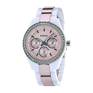 Fossil Women's ES2802 Plastic Case & Bracelet Fixed Silver-tone Bezel set with Crystals Glittering crystal accents and a round multifunction pink dial Watch