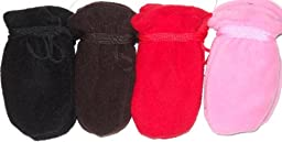 4fmg2.048, Set of Four Pairs (black, red, brown, and pink) One Size Mongolian Fleece Mittens for Infants Ages 0-6 Months
