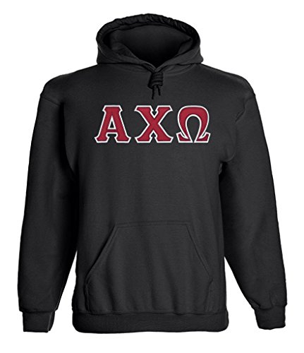 Alpha Chi Omega Twill Letter Hoody Black Medium (Chi Omega Hoodie compare prices)