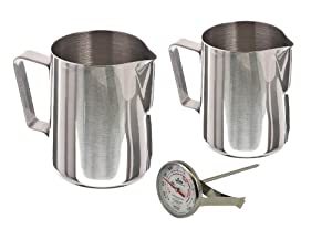 Stainless Steel Frothing Pitcher Pitchers Thermometer Set, Sizes - 12 Ounce & 20 Ounce by Update International