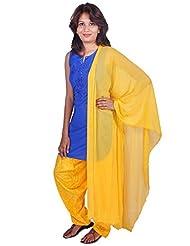 Womens Cottage Yellow Cotton Jacquard Patiala & Chiffon Dupatta Set