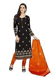 PShopee Black & Orange Printed Unstitched Cotton Salwar Suit Dress Material