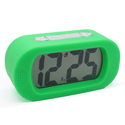 """Jcc """"Easysetting"""" Silicone Protective Cover Digital Silent Lcd Large Screen Desk Bedside Alarm Clock With Snooze Light Function Batteries Powered (Green) front-211223"""