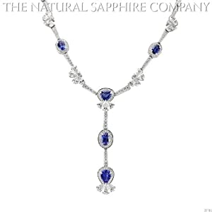 18k White Gold Necklace with 23.30ctw Oval and Pear Shaped Sapphires and 23.10ctw Diamonds (J3781)