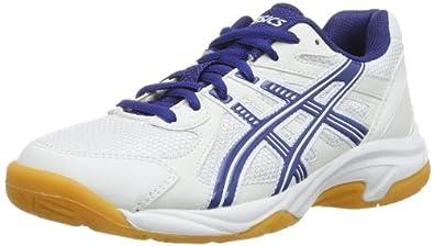ASICS Gel-Doha Junior Indoor Court Shoes, White/Navy/Silver, UK5