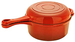 Chasseur Cast Iron 3040OR French Combi Cook Sauce Pan with Fry Pan Lid, Flame Orange