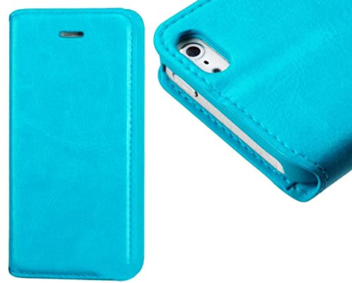 Mylife Electric Sky Blue {Smooth Texture Design} Textured Koskin Faux Leather (Card And Id Holder + Magnetic Detachable Closing) Slim Wallet For Iphone 5/5S (5G) 5Th Generation Smartphone By Apple (External Rugged Synthetic Leather With Magnetic Clip + In