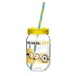Zak! Designs Tritan Mason Jar Tumbler with Screw-on Lid and Straw featuring Minions Graphics, Break-resistant and BPA-free Plastic, 19 oz.
