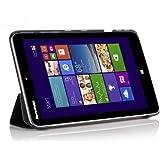 IVSO Leder Smart-Cover Hülle Case Tasche mit Ständer für Lenovo IdeaPad MIIX2 8 Windows Tablet PC (Für Lenovo IdeaPad MIIX2 8, Smart Cover-Schwarz)