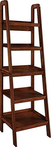 Altra Furniture Platform Wood Veneer Ladder Bookcase, Mahogany Storage Mahogany 5 Shelf Bookcase