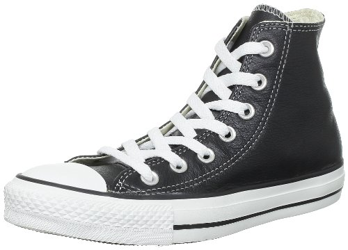 Converse Unisex Chuck Taylor All Star Leather Hi Top Black Sneaker - 6 Men - 8 Women