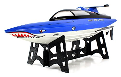 Velocity Toys Great White Shark Electric Rc Speed Boat 2.4Ghz 15 Mph Rtr Ready To Run High Speed Boat