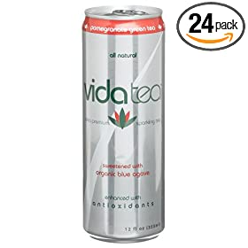 Vidatea Ultra Premium Sparkling Green Tea, Pomegranate, 12-Ounce Cans (Pack of 24)