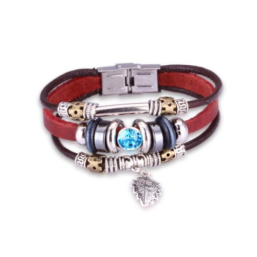 Brand New Vintage Women Sky Blue Crystal Deep Red Leather Bracelet With A Silvered Plated Leaf Drop L151