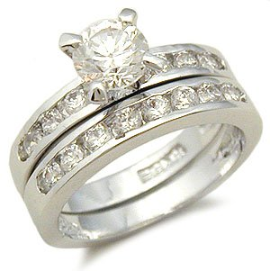 CZ WEDDING RINGS - Solitaire CZ Engagement Ring and Wedding Band Set