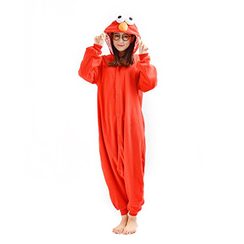 Casa Adulto Kigurumi Pigiama Unisex Cosplay Costume Animale Pigiama Red Sesame Street L