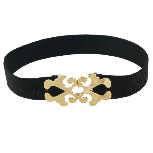 Interlocking Hollowed Floral Buckle Black Elastic Cinch Belt for Women