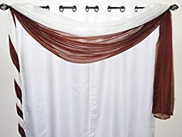 GorgeousHomeMIX-MATCH COLORS 2 Elegant Swag Scarf Valance Voile Sheer Window Dressing Treatment 1 Ivory off white & 1 Brown 216\