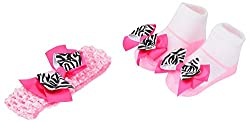 Baby Bucket baby flower knit strechable hair band socks gift box pink and white