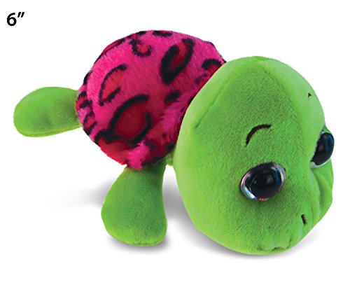 Puzzled Big Eye Pink Shell Sea Turtle Plush, 6""